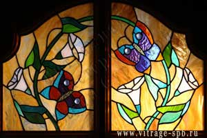 Tiffany. Mosaic stained glass soldering. Butterflies.